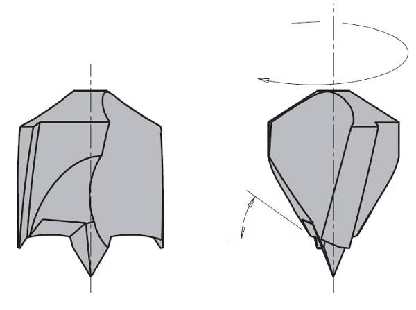 Broca para agujero ciego conexión rápida, giro a derecha e izquierda,largo total de 85 mm