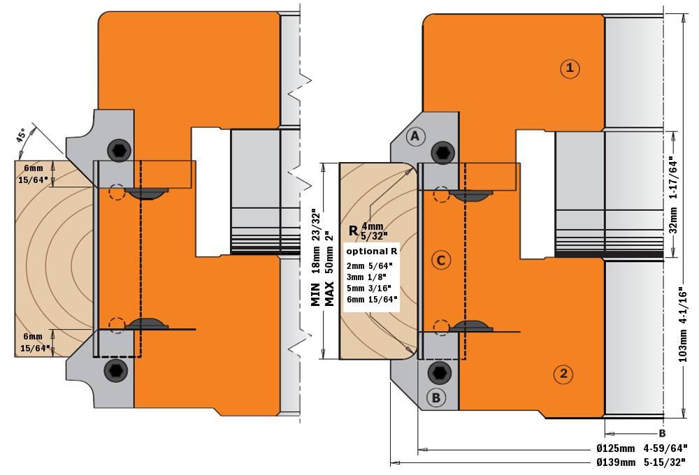 """Este juego permite montar 5 cuchillas en radios 2mm (5/64""""), 3mm (1/8""""), 4,5mm (5/32""""), 5mm (3/16"""") y 6mm (15/64"""") ó bisel a 45º. En materiales de varios grosores de 18mm (23/32"""") a 50mm (2""""). ¡El nuevo diseño con ángulo axial garantiza acabados perfectos! Para máquinas tupí y combinadas."""