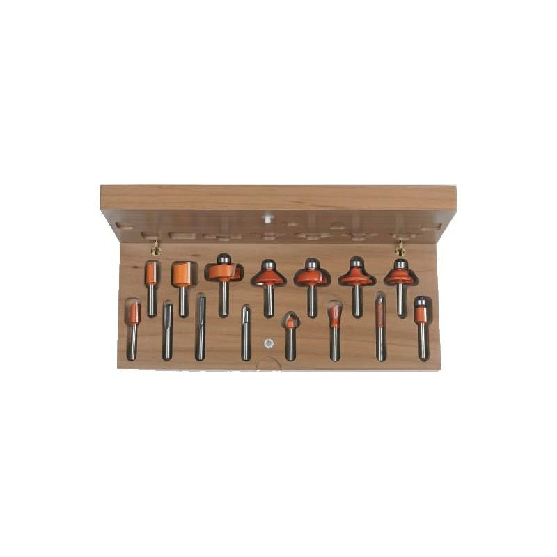 Juego de 15 fresas variadas para madera a utilizar en fresadora manual