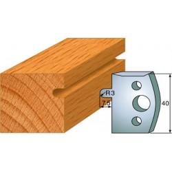Cuchillas y contracuchillas perfiladas para realizar ranuras semi-circulares para columnas o molduras de madera