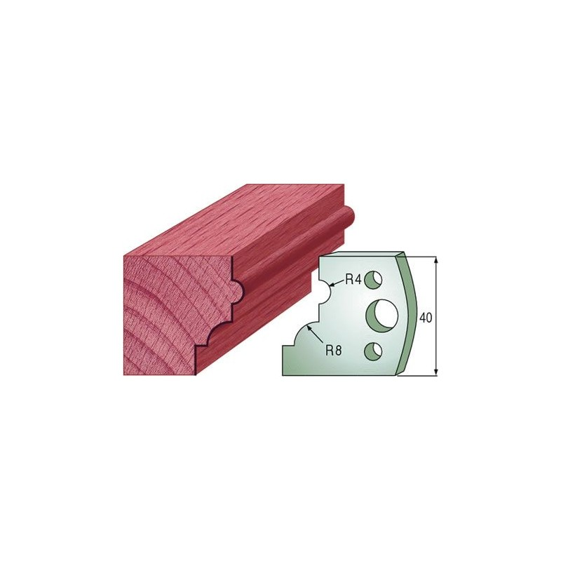 Cuchillas y contracuchillas perfiladas para molduras de madera con perfil talon o cima reversa