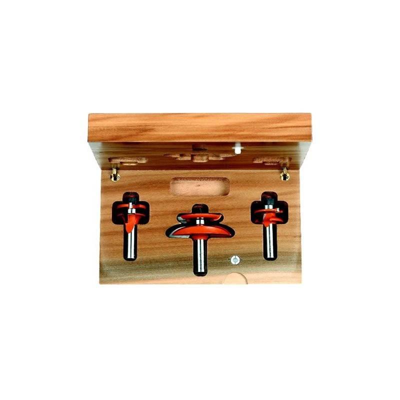 Conjunto de 3 fresas para puertas de madera y tablero