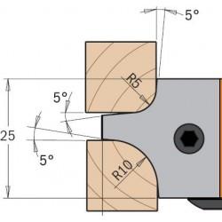 Cuchillas madera doble radio concavo