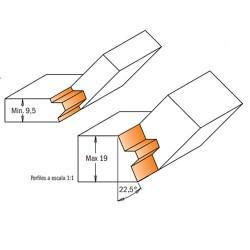 esquema herramientas para union de  maderas con un ángulo de 45°