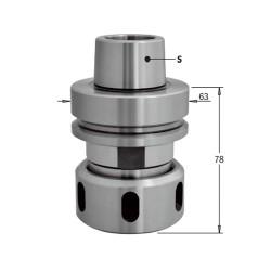 Mandril CNC para pinzas elásticas DIN6388 con conexión HSK-F63