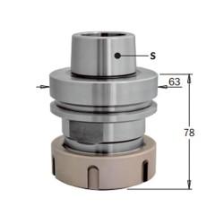 Mandril portafresas CNC conexión HSK-63F para pinzas elásticas ER40
