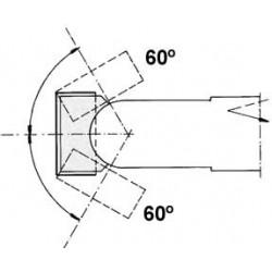Cabezal con dos cortes, que pueden inclinarse de 0º a 60º mediante ajuste de 1 en 1 grados