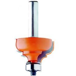 fresa de carburo de tungsteno de perfil clasico,con un pinto vertical al centro de la fresa,para separar las curvas