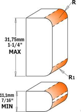 Cada fresa incorpora en cada parte un radio de 2 mm y un radio de 3 mm para redondear