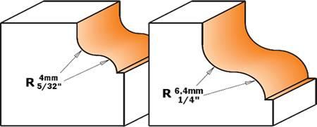 Fresa de perfil cóncavo y convexo de radio 4 y 6,4, la fresa incorpora un rodamiento de menor diametro que el diámetro menor de la herramienta para asi poder realizar el típico pinto.