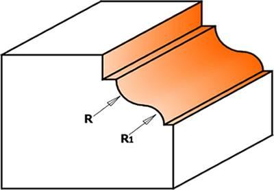 Fresa de perfil cóncavo y convexo,con pinto vertical en la parte superior de la fresa y pinto horizontal en la parte inferior de la fresa,gracias al rodamiento que incorpora la fresa algo mas pequeño que el diámetro menor de la herramienta