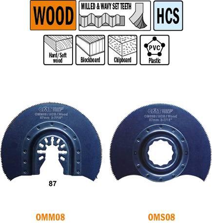Sierra de corte radial con dientes para madera para maquinas de inmersion oscilantes