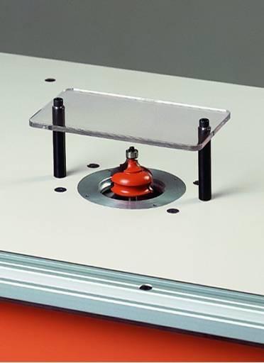 Conjunto de 2 ejes roscados y placa de metraquilato para usar como proteccion en trabajos manuales,solo con el apoyo del rodamiento de la fresa