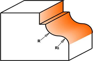 Fresa de perfil cóncavo y convexo,con pinto vertical en la parte superior de la fresa,el rodamiento que incorpora la fresa es igual que el diámetro menor de la herramienta.
