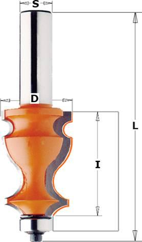 Fresas para la fabricación de molduras especiales con una altura máxima de moldura de 41 mm y un diámetro de 27 mm