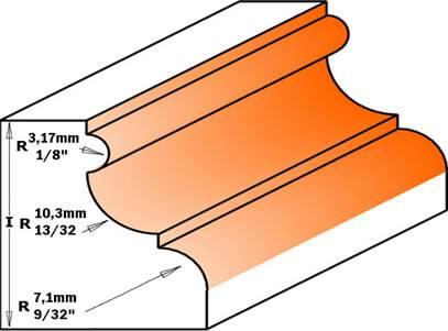 Esta fresa dispone de una altura máxima de moldura de 28,5 mm y un diámetro de 47,5 mm,fabricada en 2 cortes de carburo de tungsteno,con limitadores de profundidad para evitar los antirretrocesos.