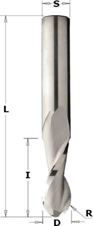 Fresa helicoidal con punta esferica de 2 cortes para trabajar en maquinas cnc