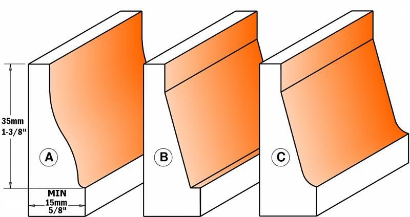 Con estas fresa podra realizar 3 perfiles diferentes de plafones,realizara el perfil posicionando la parte mas estrecha de la madera sobre la mesa de la maquina y asi realizar un plafon vertical