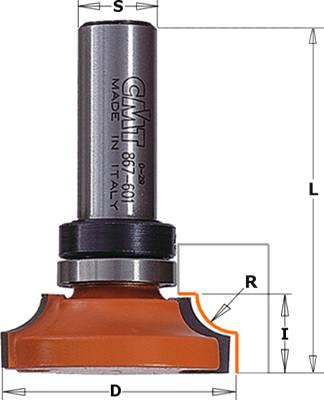 Fresa de ¼ de radio con cojinete para realizar molduras en madera y sus derivados