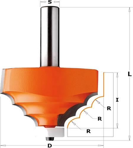 Fresa para materiales compuestos con 3 radios simetricos y cojinete Delrin®
