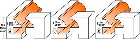 Conjunto de 2 fresas para el machiembrado en la fabricación de puertas en maderas de 18 a 22 mm de espesor