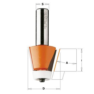 Fresa de 10º y 15º para realizar biselados en materiales compuestos como la marca Corian o Formica,entre otras
