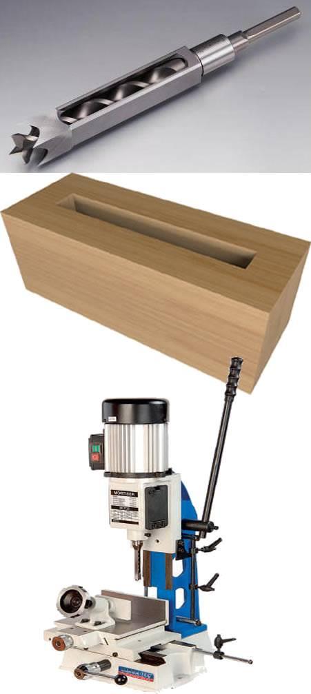 Broca helicoidal para madera de escoplear de formon hueco