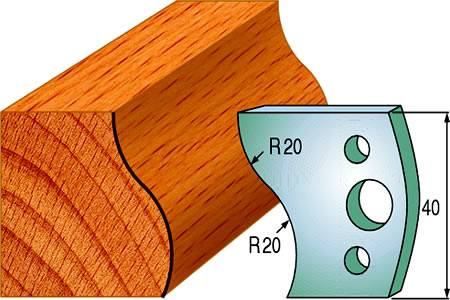 Cuchillas y contracuchillas para madera de doble radio de 20 mm
