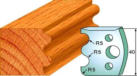 Cuchillas y contracuchillas doble radio concavo de 5 mm y 1 radio convexo de radio 5 mm