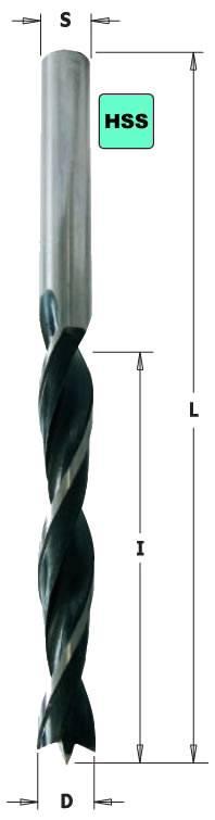 Broca de madera helicoidal de mango cilindrico de 3 puntas