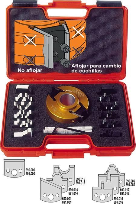 Estuche con cuchillas perfiladas, contracuchillas y cabezal portacuchillas para trabajar en tupi o combinadas