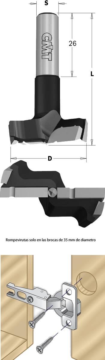 Nueva broca para la insercion de bisagras, ahora con mad duracion de corte gracias al nuevo compuesto del metal duro XTREME