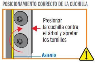 Recomendacion: presionar la cuchillas para madera hasta el fondo del asiento de la fresa