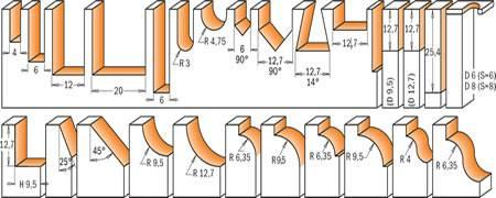 26 fresas con perfil concavo,convexo,recto,para copiar,de cola milano,en forma de V y muchas mas...