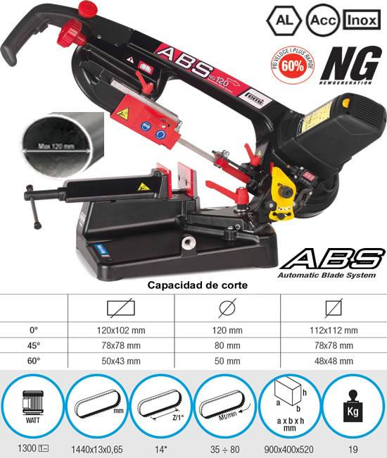 Sierra de cinta para metal horizontal y portatil modelo ABS NG120 de Femi