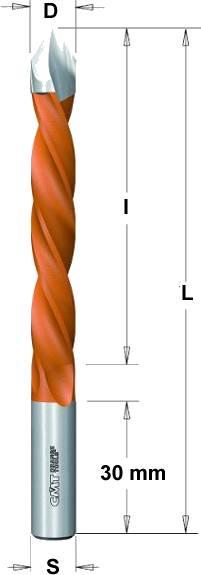 Broca madera extralarga para agujeros pasantes de 60º