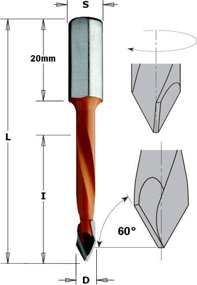 Brocas para madera y laminados, agujeros pasantes mango de 8 mm y largo 70 mm