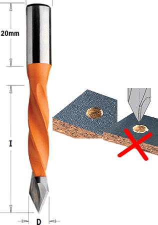 Brocas para madera y tablero que realiza un agujero pasante sin astillas en materiales de espesor de 30-35 mm maximo
