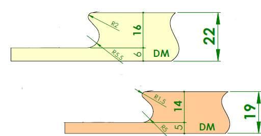 Plano perfil para realizar uñero para puertas con fresa de cuchillas