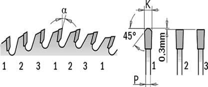 sierra circular con grupo de 3 dientes de carburo c