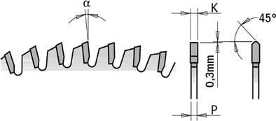 sierra para materiales no ferrosos con angulo negativo