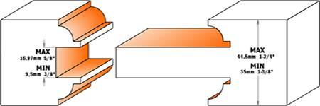 moldura y contramoldura a 2 caras del montante de la puerta