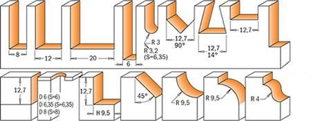 Ejemplos de perfiles que realizan las fresas cmt  modelo 7/8/900.001