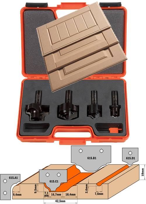 Maletin completo con 5 herramientas para realizar puertas en MDF y madera