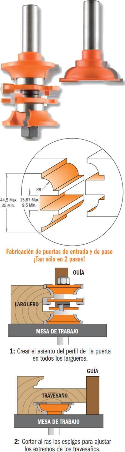 Juego de fresas para madera que realizan la moldura y contramoldura para puertas de paso o de entrada