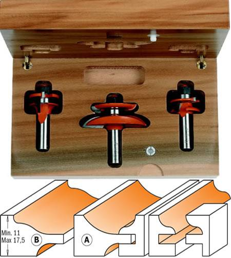 Conjunto de 3 fresas para fabricar puertas de madera