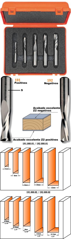 Estuche compuesto de 5 fresas helicoidales para trabajar la madera y sus derivados sobre fresadoras portatiles y maquinas cnc