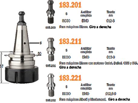 Portaherramientas conicos ISO30 para utilizar con pinzas ER32