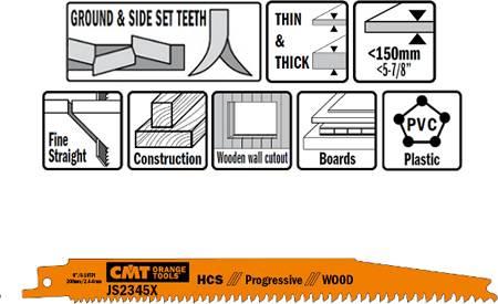 Hojas de sierra madera, plastico y aglomerado con diente variable, calidad hcs para la mayoria de sierras de sable