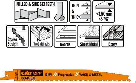 Hojas de sierra para sables corte de madera y metal hasta 150 mm de espesor